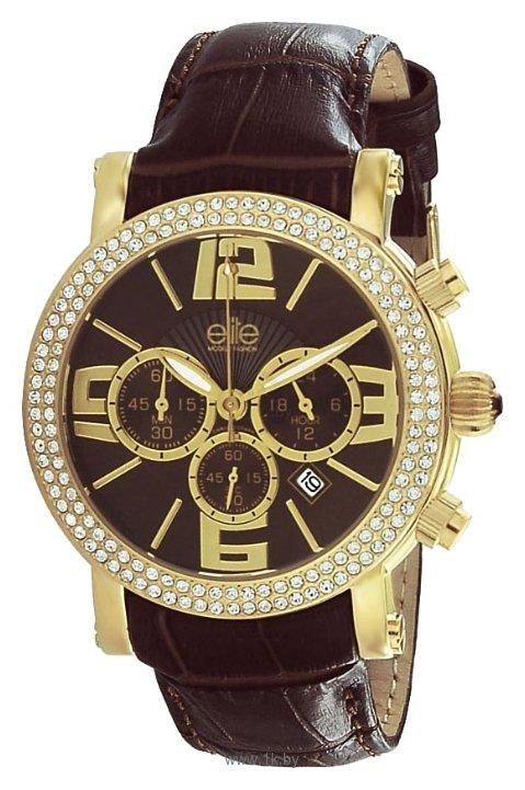 Женские наручные часы Elite. Кварцевый хронограф. Корпус из нержавеющей стали с позолотой украшен камнями, часы