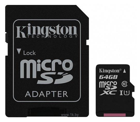 Фотографии Kingston Canvas Select microSDXC Class 10 UHS-I U1 64GB + SD adapter (SDCS/64GB)