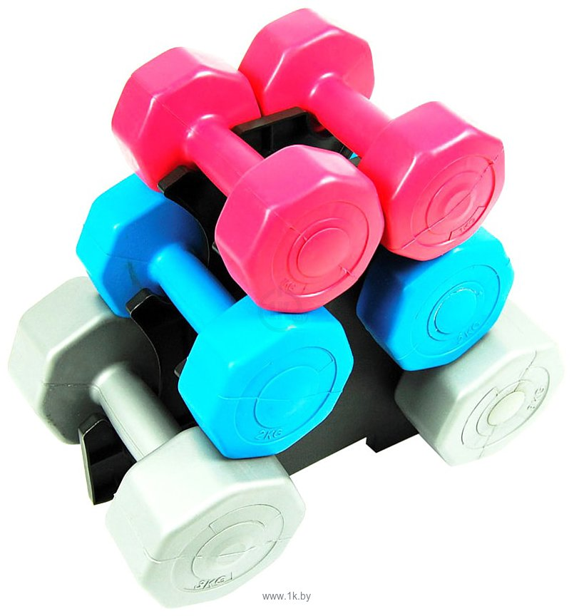 Фотографии Atlas Sport Fitnes Composit 12 кг с подставкой (2x1кг+2x2кг+2x3кг)