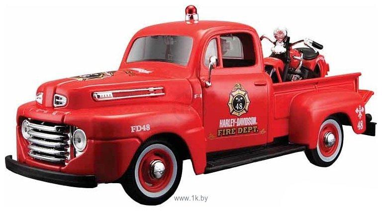 Фотографии Maisto Форд F-150 Пожарная с мотоциклом 32191 (красный)