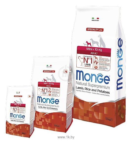 Фотографии Monge (0.8 кг) Speciality Mini Adult Ягненок с Рисом и Картофелем