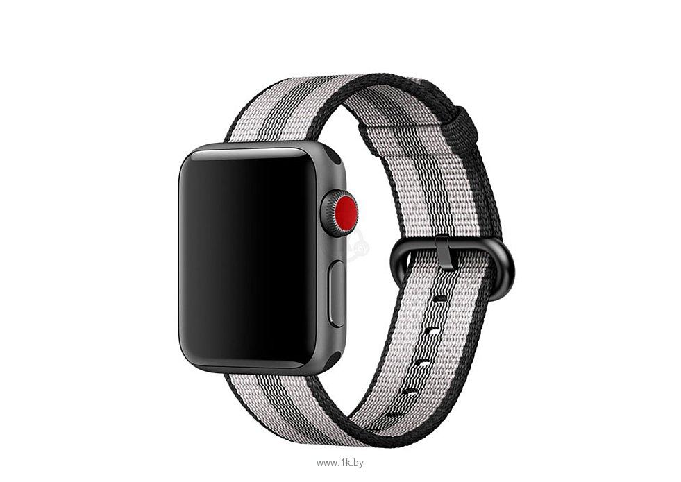 Фотографии Apple из плетеного нейлона 38 мм (черная полоска) MQVG2