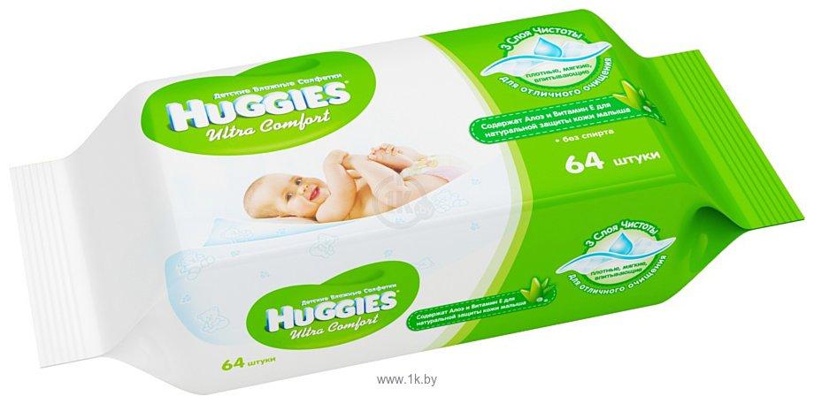 Фотографии Huggies Ultra Comfort с Алоэ Вера и витамином Е (64шт)