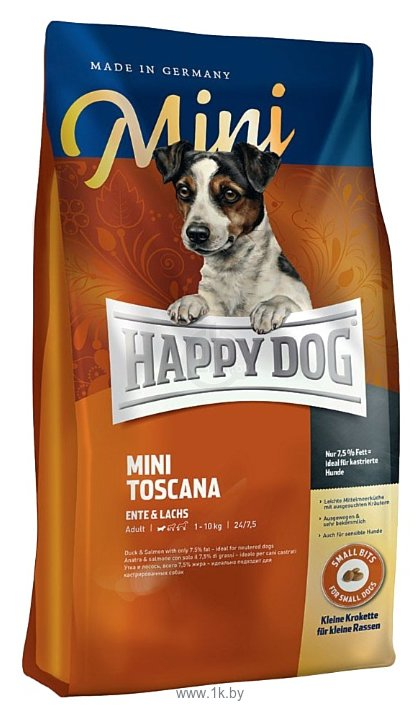Фотографии Happy Dog (1 кг) Supreme - Mini Toscana с уткой и лососем