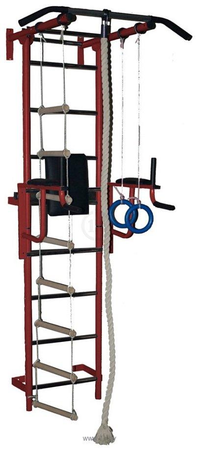 Фотографии Крепыш пристенный с брусьями-1 с ПВХ покрытием (бордовый)