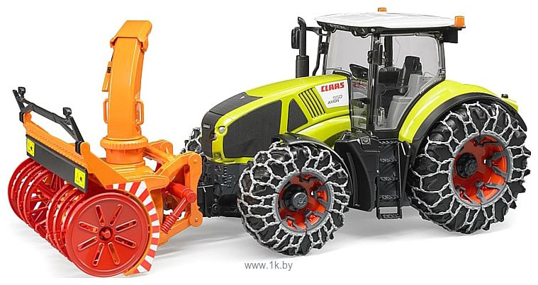 Фотографии Bruder Claas Axion 950 with snow chains and snow blower 03017