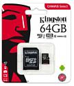 Kingston Canvas Select microSDXC Class 10 UHS-I U1 64GB + SD adapter (SDCS/64GB)