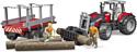 Bruder Massey Ferguson + Frontloader and timber trailer 02046