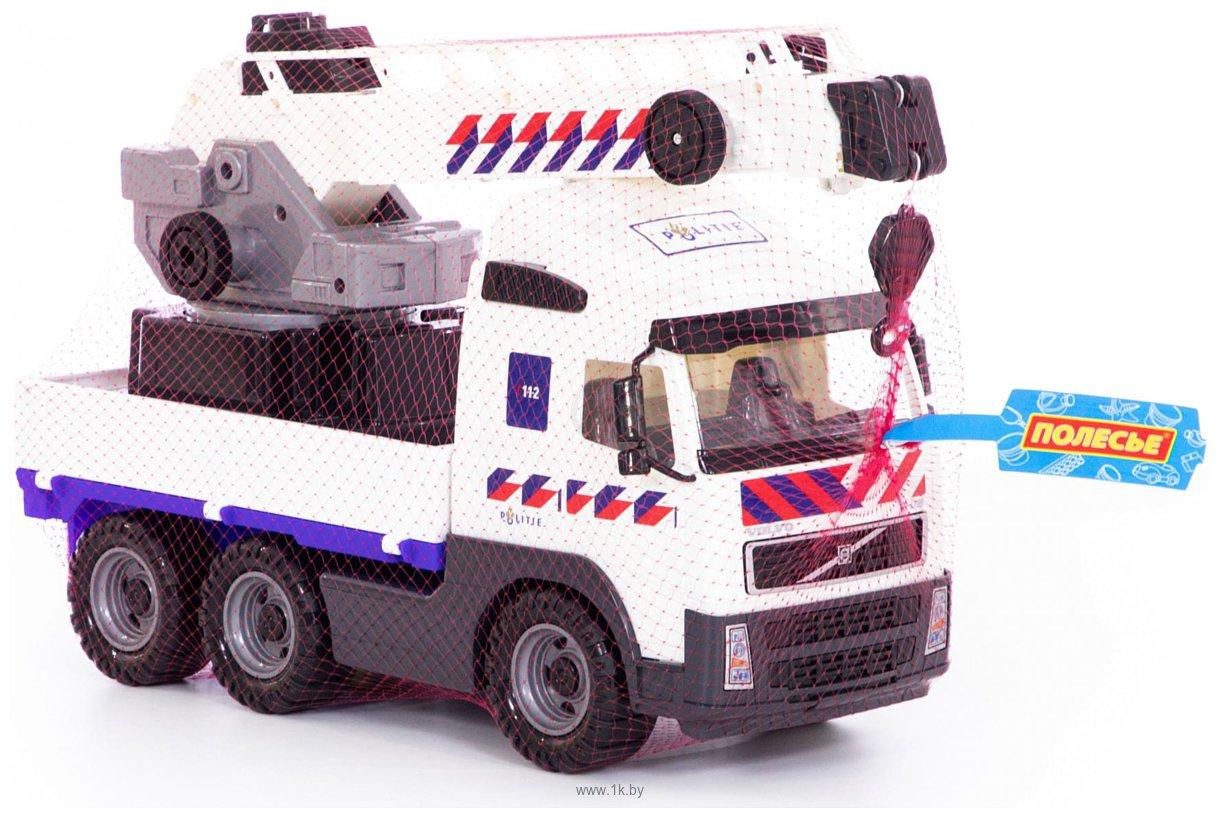 Фотографии Полесье Volvo автомобиль-кран с поворотной платформой полицейский 77318