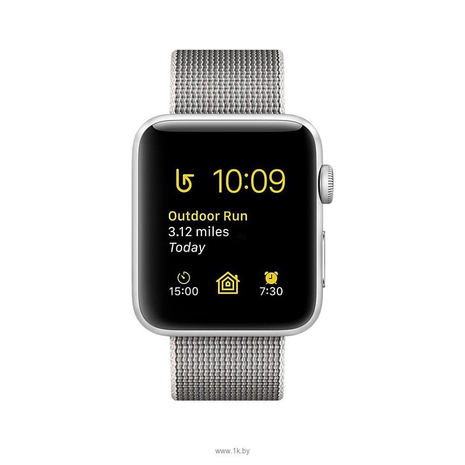 Фотографии Apple Watch Series 2 42mm Silver with Pearl Woven Nylon (MNPK2)