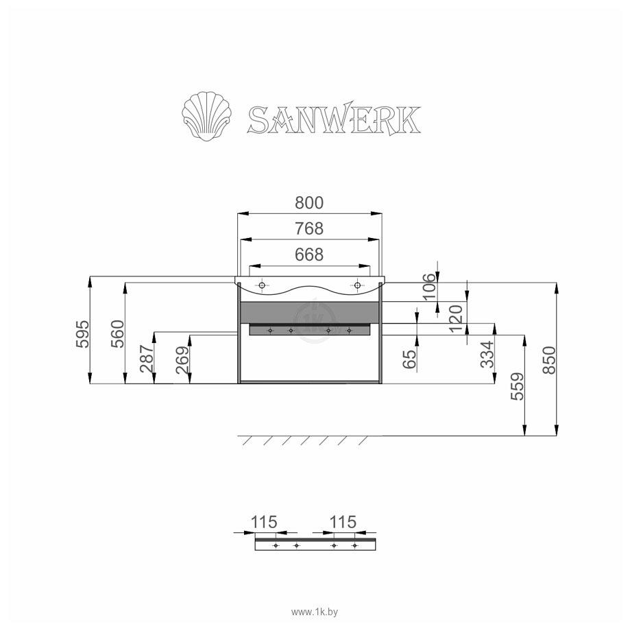 Фотографии Sanwerk Тумба Грета Air 70 с умывальником Канте (белый) MV0000625