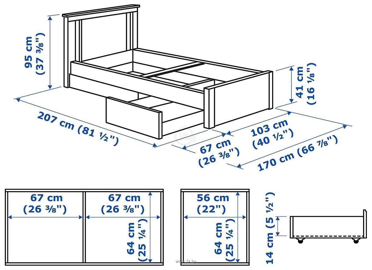 Фотографии Ikea Сонгесанд 200x90 (коричневый, 2 ящика, Лонсет) 392.409.71