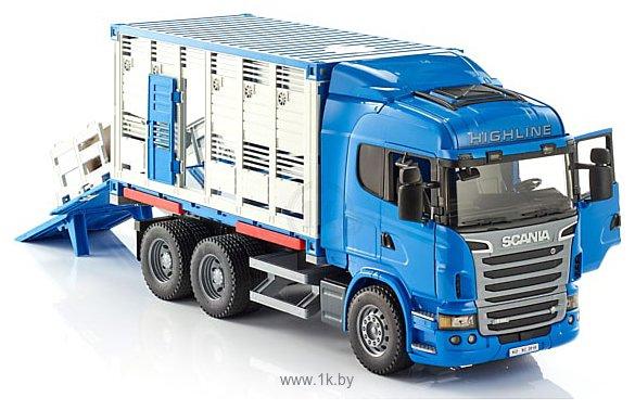 Фотографии Bruder Scania R-Series livestock transporter with one cow 03549