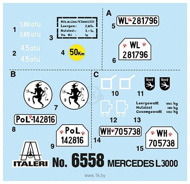 Фотографии Italeri 6558 Автомобиль Mercedes-Benz L3000