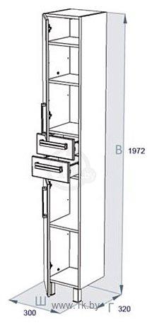 Фотографии Triton Ника-30 шкаф-пенал белый правый