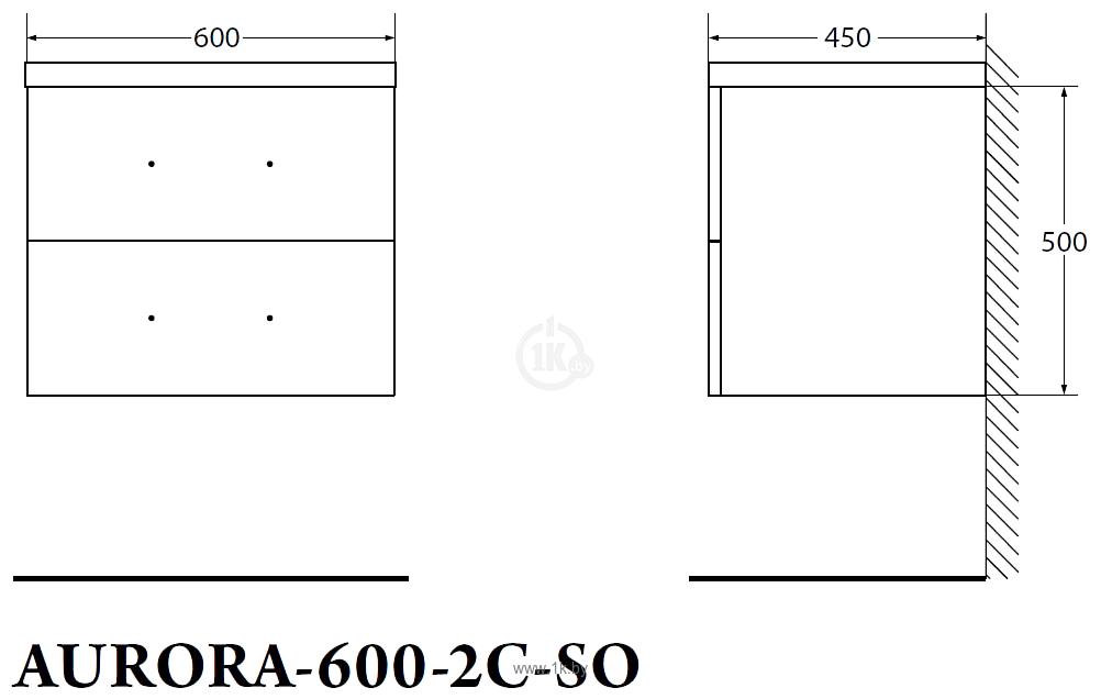 Фотографии BelBagno Тумба под умывальник Aurora-600-2C-SO-RNN (rovere nebrasca)