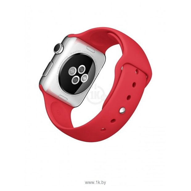 Фотографии Apple Watch Sport 42mm Silver with Red Sport Band (MLLE2)