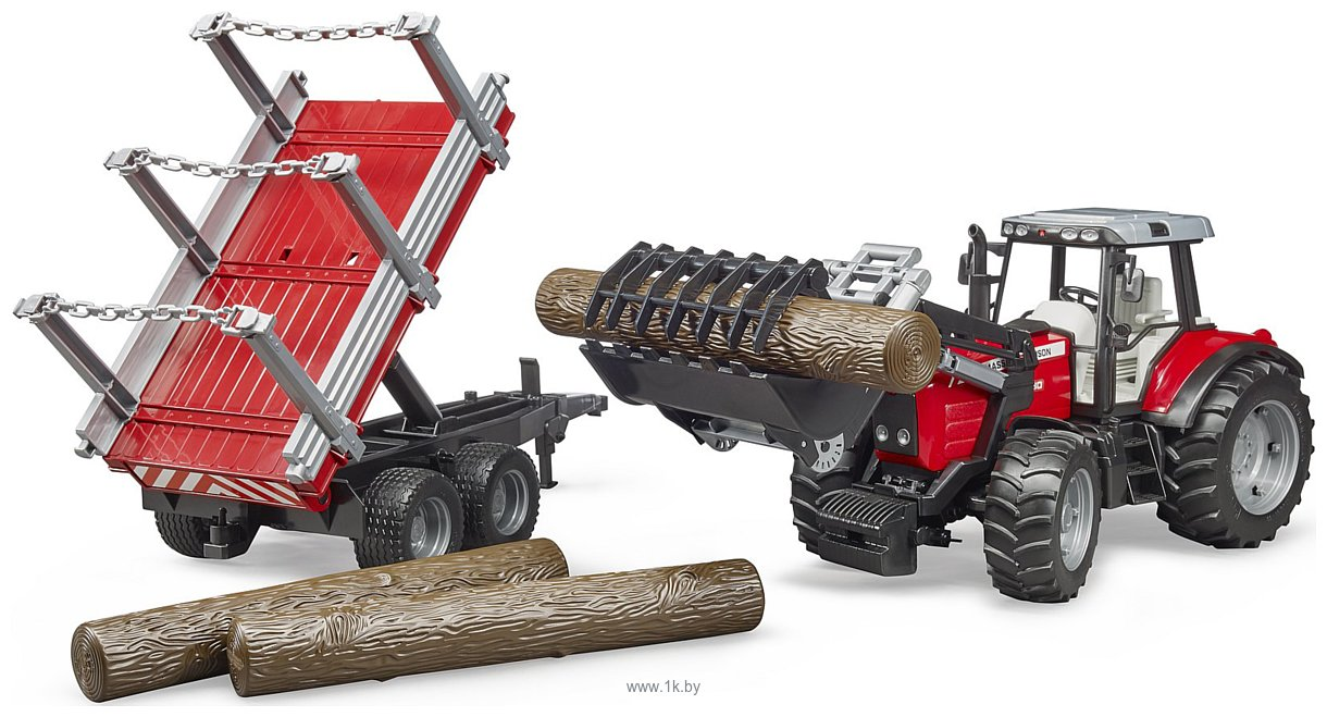 Фотографии Bruder Massey Ferguson + Frontloader and timber trailer 02046