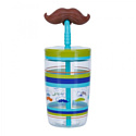 Contigo Стакан для воды Funny Straw Electric Blue Mustache 1000-0521