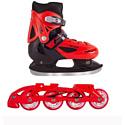 Коньки Black Aqua 2в1 AS-406 red р-р 34-37