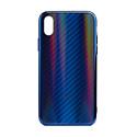 """EXPERTS Силиконовый чехол """"AURORA GLASS CASE"""" для iPhone XR с LOGO синий"""