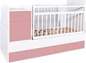 Детская кроватка Bambini Трансформер (белый/розовый)