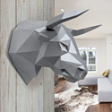 """3D-конструктор из бумаги  """"БЫК АЛЕША (серебряный)"""" на стену PP-1BUL-SLV PAPERRAZ"""